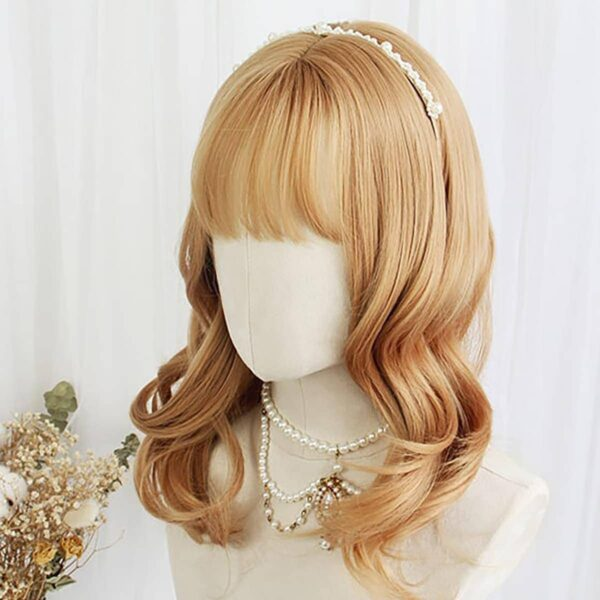 Golden Blonde Wavy Straight Bang Wig Cute Aesthetic 3 - Orezoria Aesthetic Outfits Shop - eGirl Outfits - Soft Girl Outfits