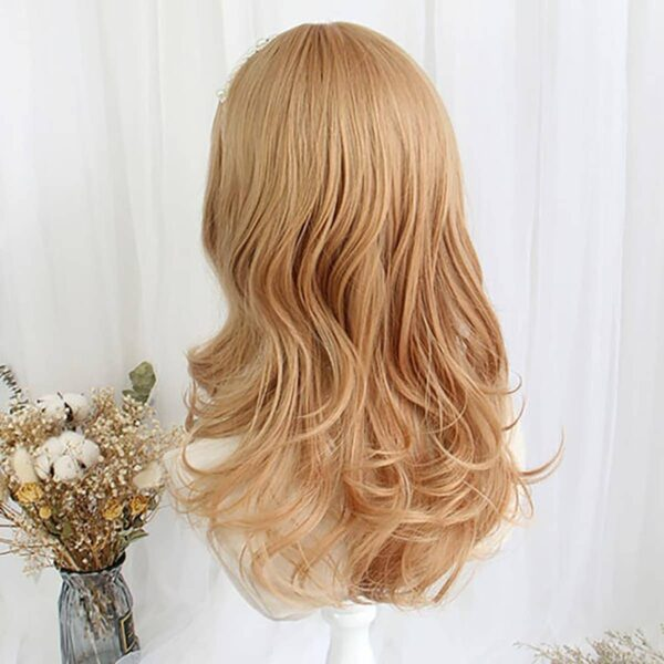 Golden Blonde Wavy Straight Bang Wig Cute Aesthetic 4 - Orezoria Aesthetic Outfits Shop - eGirl Outfits - Soft Girl Outfits