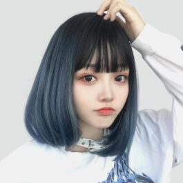 Gradient Blue Dark Bob Hair Wig eGirl Aesthetic 1 - Orezoria Aesthetic Outfits Shop - eGirl Outfits - Soft Girl Outfits