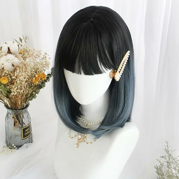 Gradient Blue Dark Bob Hair Wig eGirl Aesthetic 2 - Orezoria Aesthetic Outfits Shop - eGirl Outfits - Soft Girl Outfits