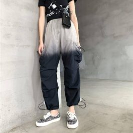 Gradient Wide Cargo Pants Techwear Aesthetic