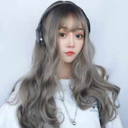 Gray Blonde Long Wavy Hair Wig Korean Style 1 - Orezoria Aesthetic Outfits Shop - eGirl Outfits - Soft Girl Outfits