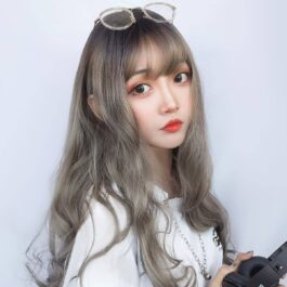 Gray Blonde Long Wavy Hair Wig Korean Style 2 - Orezoria Aesthetic Outfits Shop - eGirl Outfits - Soft Girl Outfits