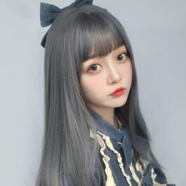 Gray Haze Blue Straight Bang Wig eGirl Aesthetic 1 - Orezoria Aesthetic Outfits Shop - eGirl Outfits - Soft Girl Outfits