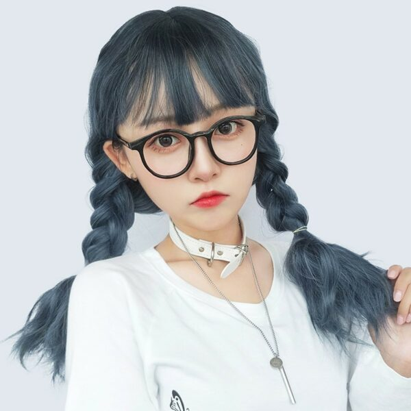 Haze Blue Curly Straight Bang Wig eGirl Aesthetic 1 - Orezoria Aesthetic Outfits Shop - eGirl Outfits - Soft Girl Outfits