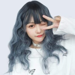 Haze Blue Curly Straight Bang Wig eGirl Aesthetic 2 - Orezoria Aesthetic Outfits Shop - eGirl Outfits - Soft Girl Outfits