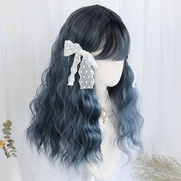 Haze Blue Curly Straight Bang Wig eGirl Aesthetic 3 - Orezoria Aesthetic Outfits Shop - eGirl Outfits - Soft Girl Outfits