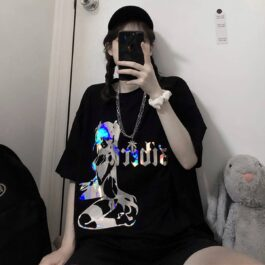 Holographic Anime Girl T-Shirt Oversized