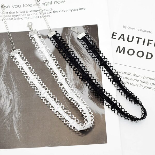 Lace Neckband Choker Collar Necklace Black and White