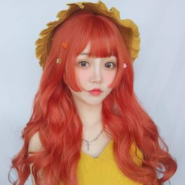 Lava Red Long Wavy Hair Wig Artsy Aesthetic 1 - Orezoria Aesthetic Outfits Shop - eGirl Outfits - Soft Girl Outfits