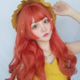 Lava Red Long Wavy Hair Wig Artsy Aesthetic 2 - Orezoria Aesthetic Outfits Shop - eGirl Outfits - Soft Girl Outfits
