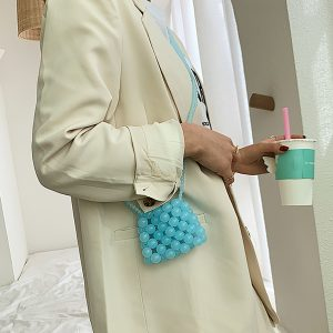 Light Blue Beads Shoulder Bag Korean Style