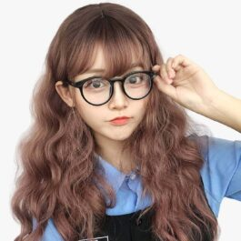 Light Brown Straight Bang Curly Wig Kawaii Aesthetic 1 - Orezoria Aesthetic Outfits Shop - eGirl Outfits - Soft Girl Outfits