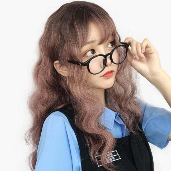 Light Brown Straight Bang Curly Wig Kawaii Aesthetic 2 - Orezoria Aesthetic Outfits Shop - eGirl Outfits - Soft Girl Outfits