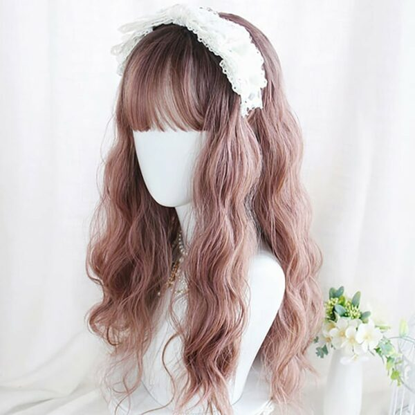 Light Brown Straight Bang Curly Wig Kawaii Aesthetic 3 - Orezoria Aesthetic Outfits Shop - eGirl Outfits - Soft Girl Outfits