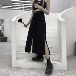 Long Black Techwear Skirt High Waist