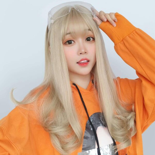 Long Light Blonde Straight Bang Wig Cute Aesthetic 1 - Orezoria Aesthetic Outfits Shop - eGirl Outfits - Soft Girl Outfits