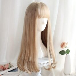 Long Light Blonde Straight Bang Wig Cute Aesthetic 2 - Orezoria Aesthetic Outfits Shop - eGirl Outfits - Soft Girl Outfits