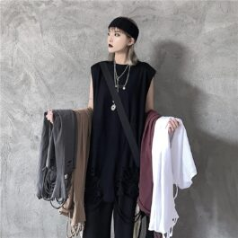 Long Loose Ripped Vest Top Korean Grunge Aesthetic