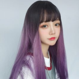 Long Straight Purple Gradient Wig Soft Girl Aesthetic 2 - Orezoria Aesthetic Outfits Shop - eGirl Outfits - Soft Girl Outfits