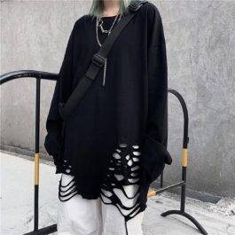 Loose Ripped Long Sleeve Top Korean Grunge Aesthetic
