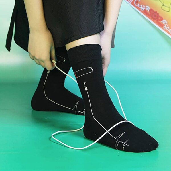 Low Battery Socks USB cable High Ankle