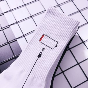 Low Battery White Socks USB cable High Ankle
