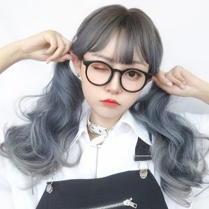 Mercury Gray Gradient Curly Hair Wig Cute Aesthetic 1 - Orezoria Aesthetic Outfits Shop - eGirl Outfits - Soft Girl Outfits