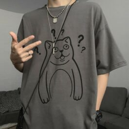 Mur Cat Questions Intensifies Meme Aesthetic T-Shirt 1 - Orezoria Aesthetic Outfits Shop - eGirl Outfits - Soft Girl Outfits