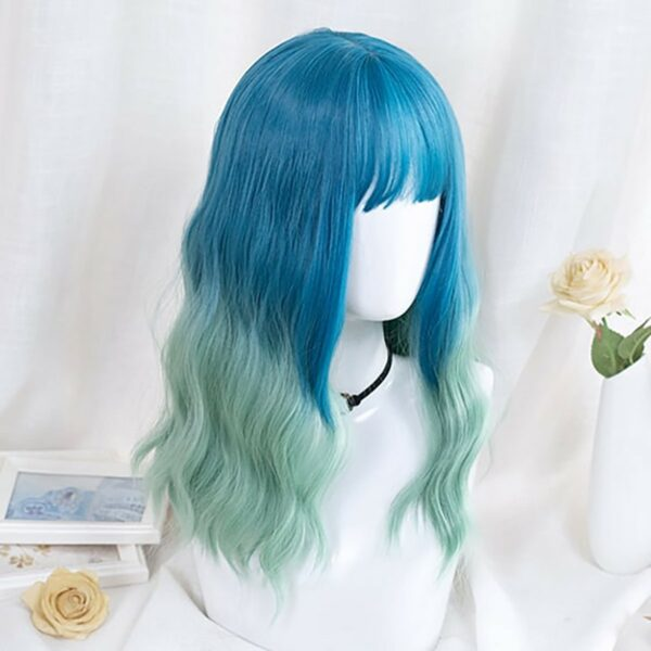 Ocean Blue Gradient Wig Light Wavy eGirl Aesthetic 3 - Orezoria Aesthetic Outfits Shop - eGirl Outfits - Soft Girl Outfits