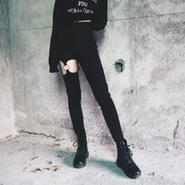 Open Thigh Metal Ring Leggings Grunge Aesthetic