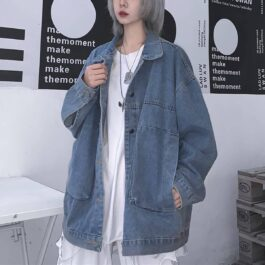 Oversized Washed Denim Jacket Korean Aesthetic