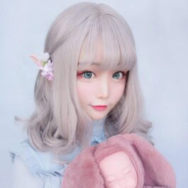 Pale Pink Straight Bang Hair Wig Kawaii Aesthetic