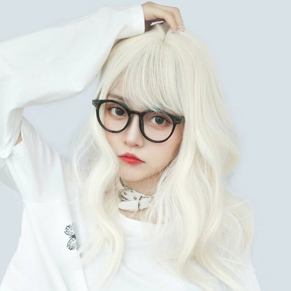 Pale White Blonde Wavy Hair Wig Soft Girl Aesthetic 1 - Orezoria Aesthetic Outfits Shop - eGirl Outfits - Soft Girl Outfits