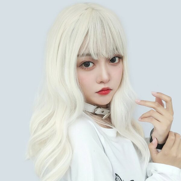 Pale White Blonde Wavy Hair Wig Soft Girl Aesthetic 2 - Orezoria Aesthetic Outfits Shop - eGirl Outfits - Soft Girl Outfits