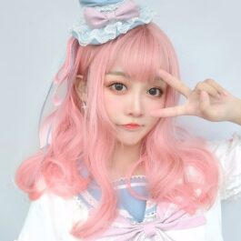 Pastel Gradient Pink Long Curly Wig Soft Girl Aesthetic 1 - Orezoria Aesthetic Outfits Shop - eGirl Outfits - Soft Girl Outfits