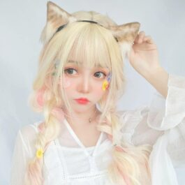 Pastel Pink Blonde Long Wavy Hair Wig Soft Girl Aesthetic 1 - Orezoria Aesthetic Outfits Shop - eGirl Outfits - Soft Girl Outfits