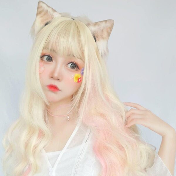 Pastel Pink Blonde Long Wavy Hair Wig Soft Girl Aesthetic 2 - Orezoria Aesthetic Outfits Shop - eGirl Outfits - Soft Girl Outfits