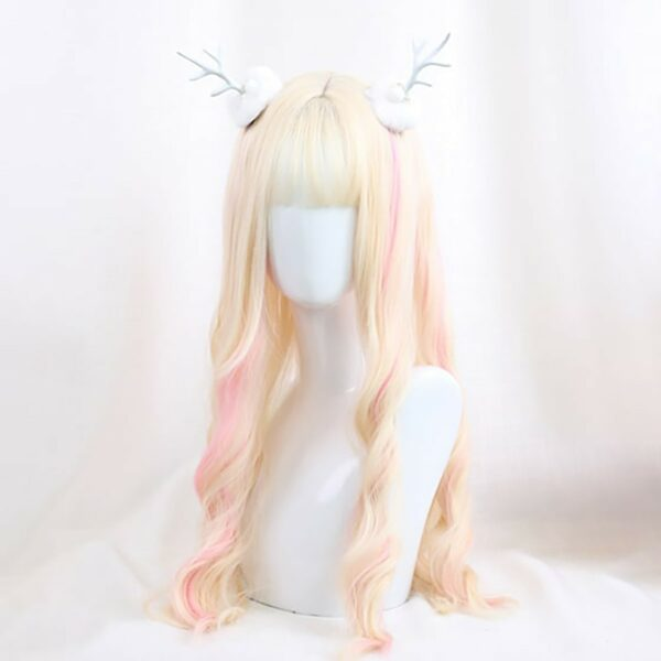Pastel Pink Blonde Long Wavy Hair Wig Soft Girl Aesthetic 3 - Orezoria Aesthetic Outfits Shop - eGirl Outfits - Soft Girl Outfits