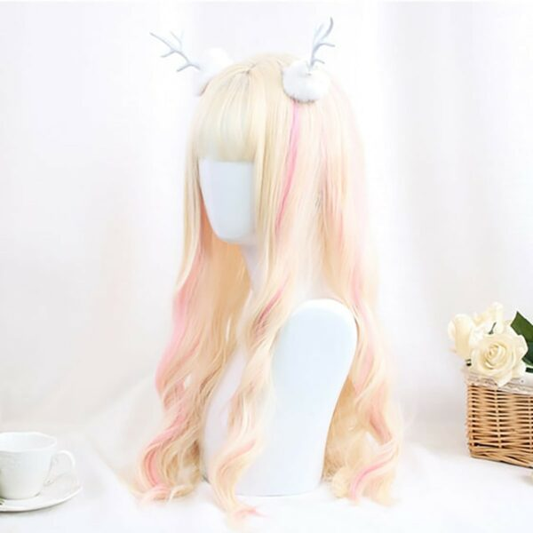 Pastel Pink Blonde Long Wavy Hair Wig Soft Girl Aesthetic 4 - Orezoria Aesthetic Outfits Shop - eGirl Outfits - Soft Girl Outfits