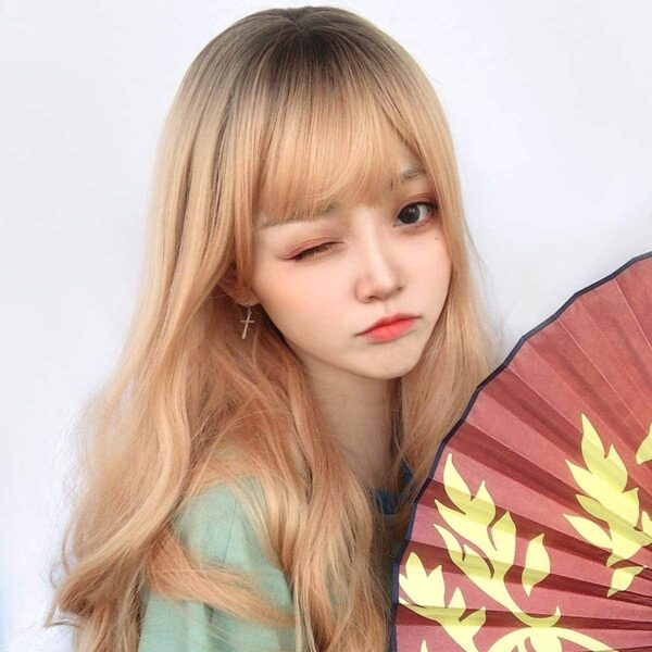 Peach Blonde Straight Bang Hair Wig Cute Aesthetic 2 - Orezoria Aesthetic Outfits Shop - eGirl Outfits - Soft Girl Outfits