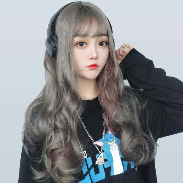 Philippine Silver Pink Strands Straight Bang Hair Wig