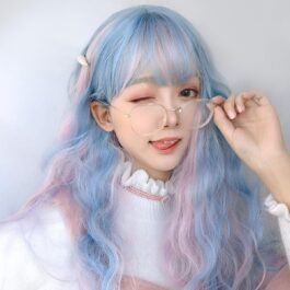 Pink Blue Mixed Pastel Wig Cute Aesthetic 1 - Orezoria Aesthetic Outfits Shop - eGirl Outfits - Soft Girl Outfits