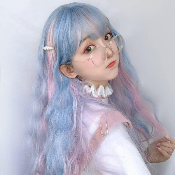 Pink Blue Mixed Pastel Wig Cute Aesthetic 2 - Orezoria Aesthetic Outfits Shop - eGirl Outfits - Soft Girl Outfits