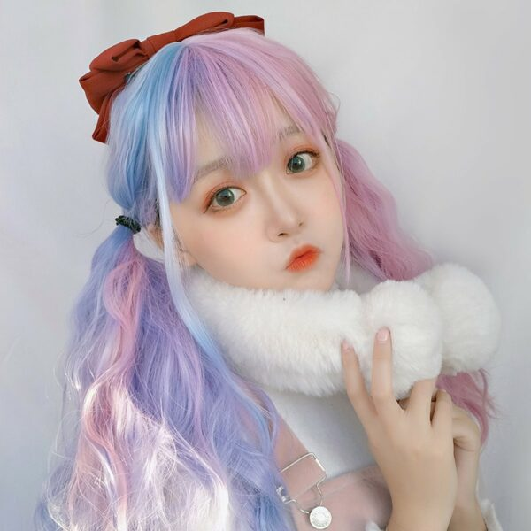 Pink Blue Split Color Pastel Wig eGirl Aesthetic 2 - Orezoria Aesthetic Outfits Shop - eGirl Outfits - Soft Girl Outfits