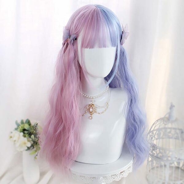 Pink Blue Split Color Pastel Wig eGirl Aesthetic 3 - Orezoria Aesthetic Outfits Shop - eGirl Outfits - Soft Girl Outfits