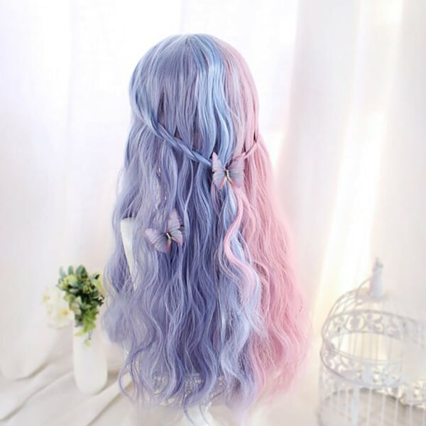 Pink Blue Split Color Pastel Wig eGirl Aesthetic 4 - Orezoria Aesthetic Outfits Shop - eGirl Outfits - Soft Girl Outfits
