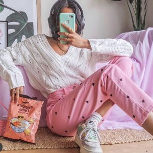 Pink Denim Jeans Black Hearts Soft Girl Aesthetic - Orezoria #1 Aesthetic Outfits Shop - eGirl Outfits, Soft Girl Outfits, Grunge Clothes