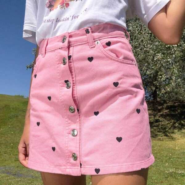 Pink Denim Skirt with Black Hearts Soft Girl Aesthetic - Orezoria #1 Aesthetic Outfits Shop - eGirl Outfits, Soft Girl Outfits, Grunge Clothes