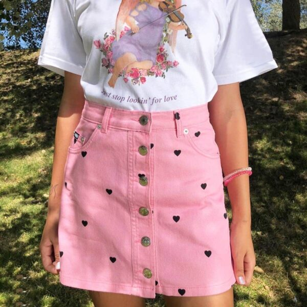 Pink Denim Skirt with Black Hearts Soft Girl Aesthetic
